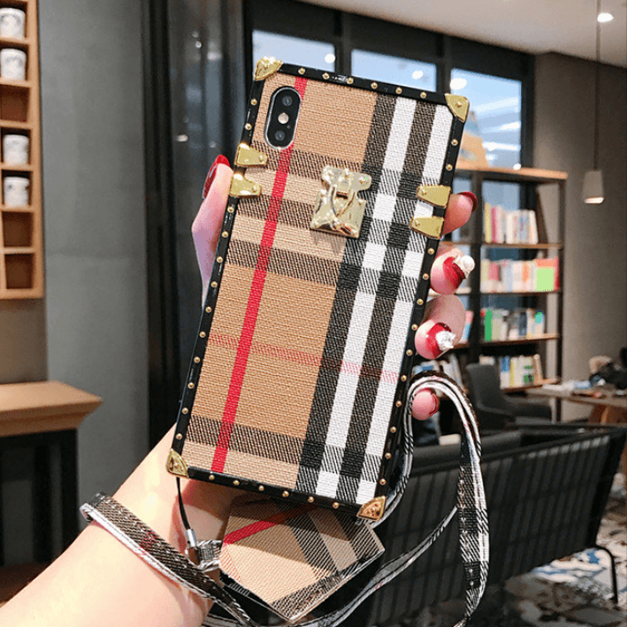 Plaid Rivet Detail Square Phone Case for Samsung with Hand Strap