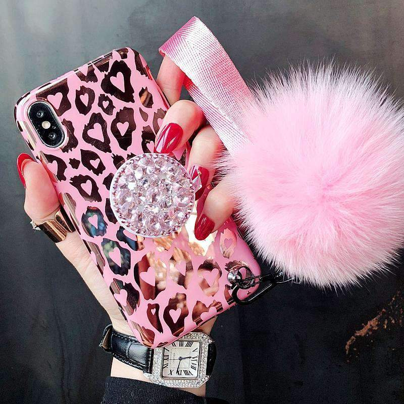 Pink Hot Gold Leopard Print iPhone Case with Phone Holder