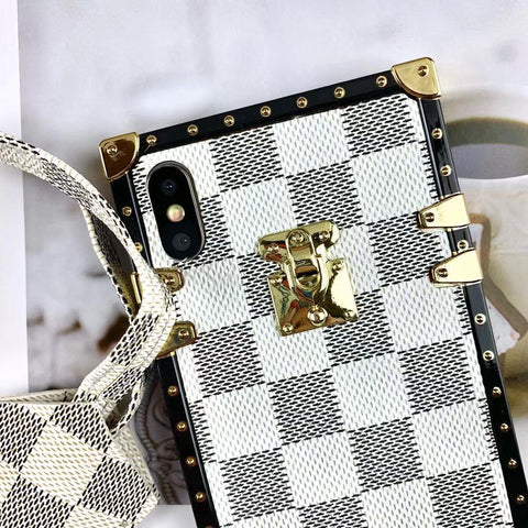 Plaid Leather Rivet Edge Phone Case for Samsung with Hand Strap gallery 4
