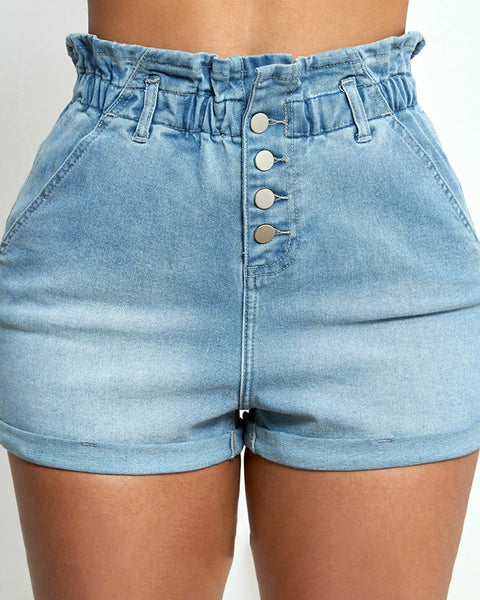Elastic Paperbag Waistband Button Up Shorts