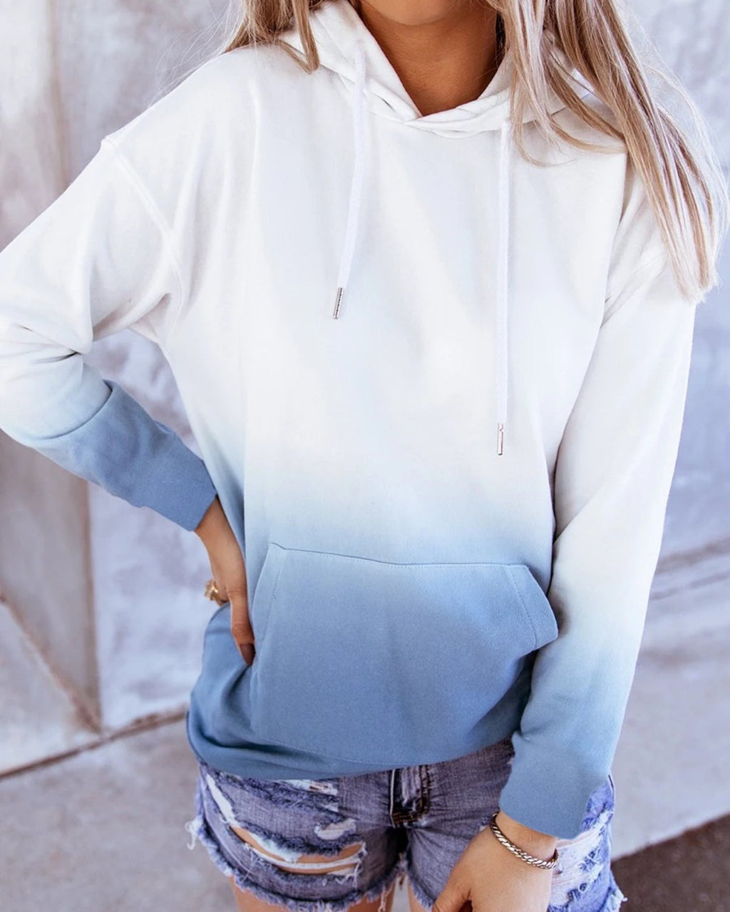 Pocket Front Ombre Drawstring Hoodie
