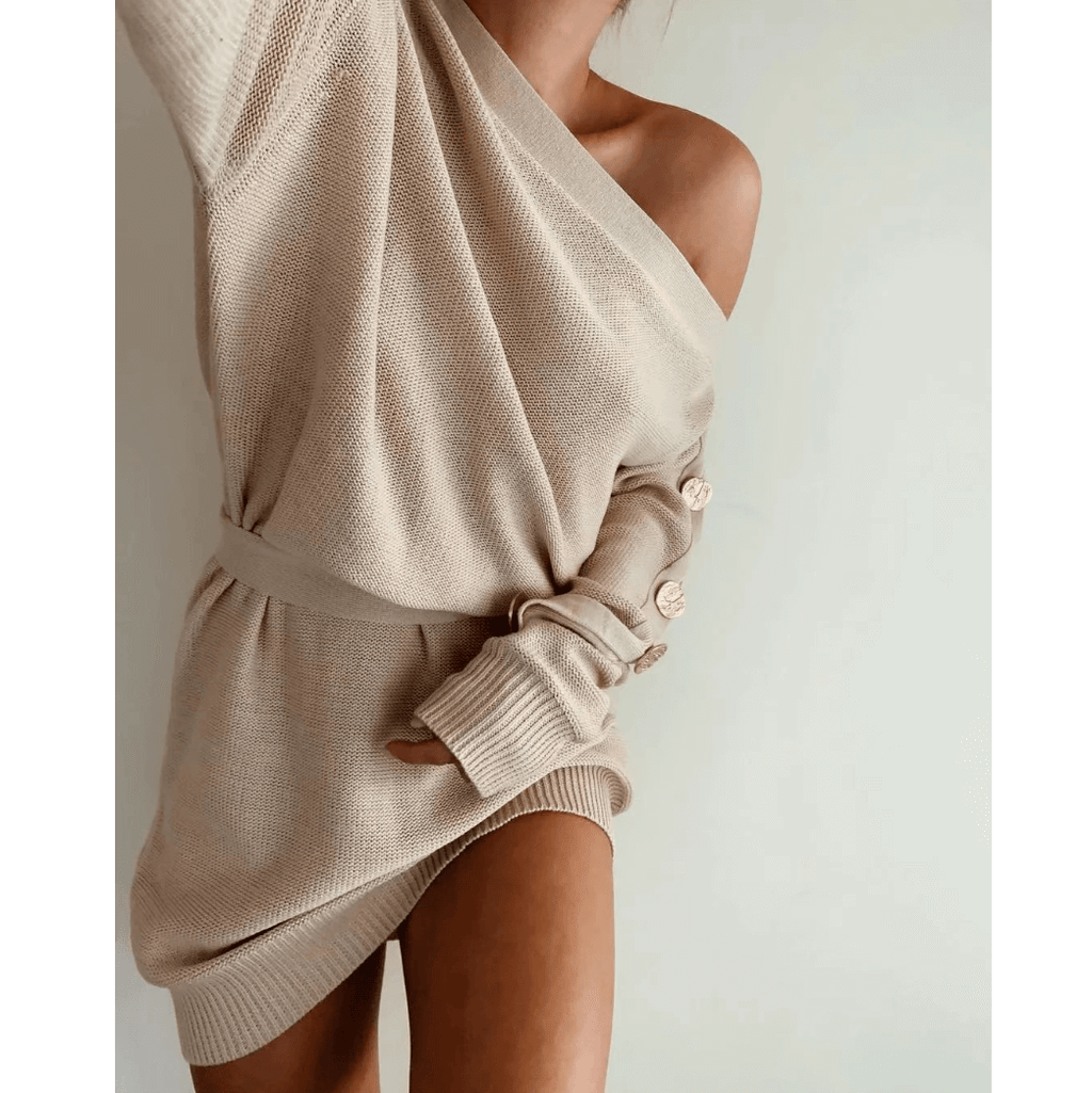 One Shoulder Button Sleeve Tie Waist Knitted Sweater Dress