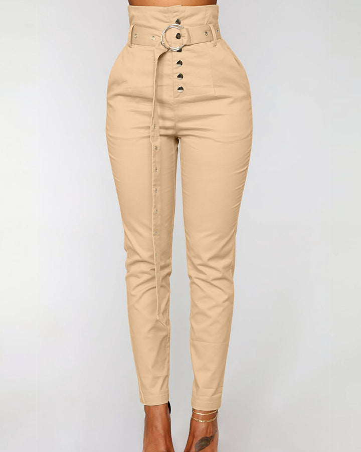 Solid Studded Button Front Pants With Belt gallery 2