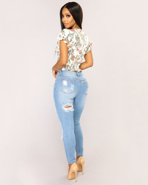Mid Waist Elastic Extreme Ripped Jeans gallery 6