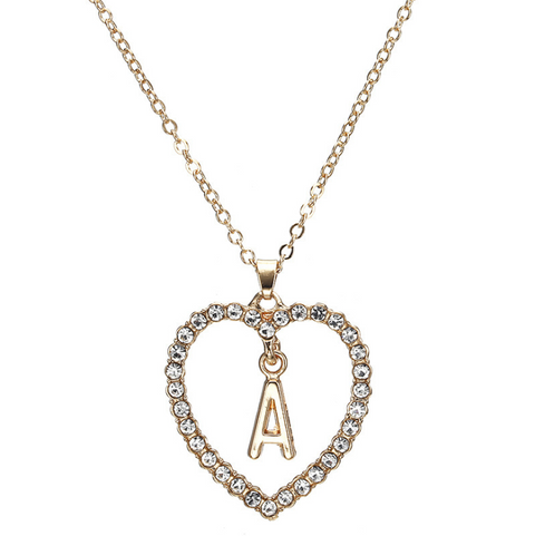 Gold Diamante Heart Shape Initial Pendant Necklace gallery 2