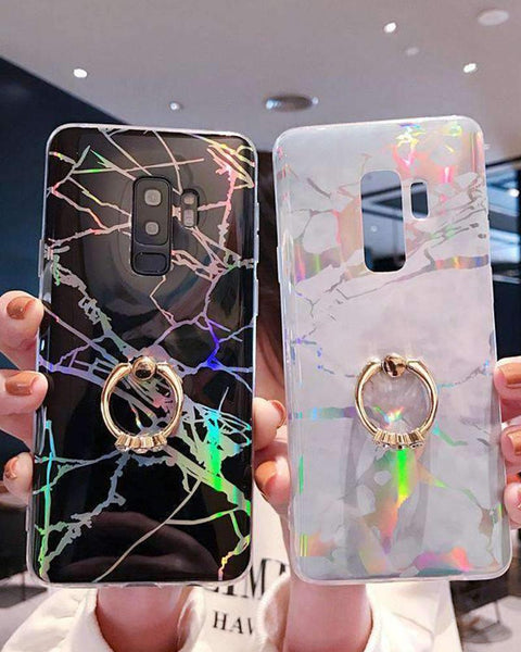 Creative Marble Soft Phone Case for Samsung with Phone Holder gallery 1