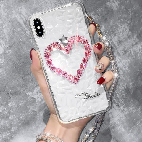 Heart Rhinestone Clear Transparent Phone Case for Samsung with Hand Strap gallery 2