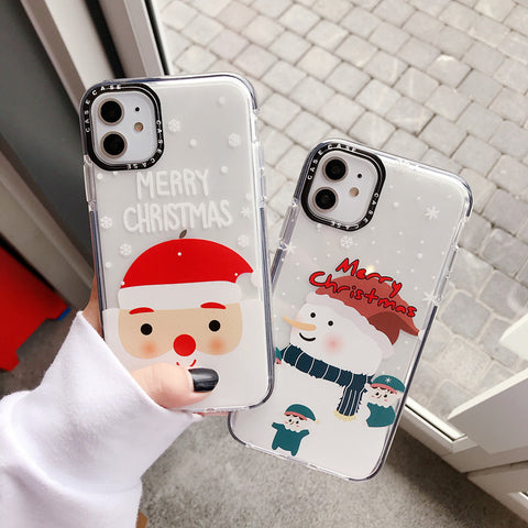 Transparent Santa Claus&Snowman Pattern iPhone Case