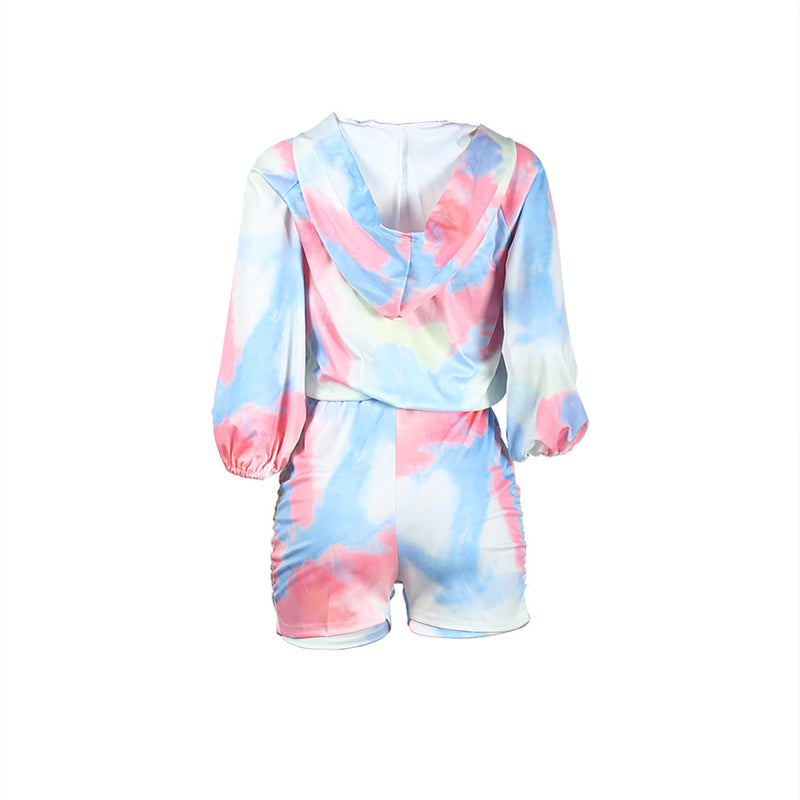 Tie Dye Zip Up Elastic Hem Top & Short Set