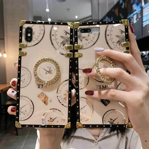 Clock Design Square Phone Case for Samsung with Phone Holder gallery 3
