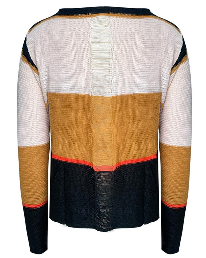 Colorblock Chunky Knit Hollow Out Back Sweater gallery 4