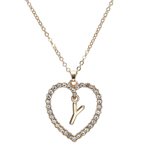 Gold Diamante Heart Shape Initial Pendant Necklace gallery 26