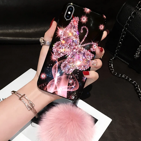 Glitter Butterfly Pattern Diamante Stud Phone Case for Samsung with Wrist Strap and Pom-pom gallery 3