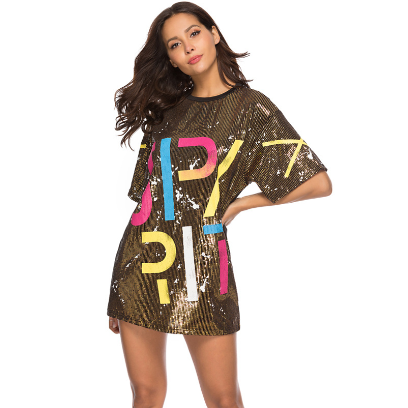 Sequin Detail Letter Print Mini Dress