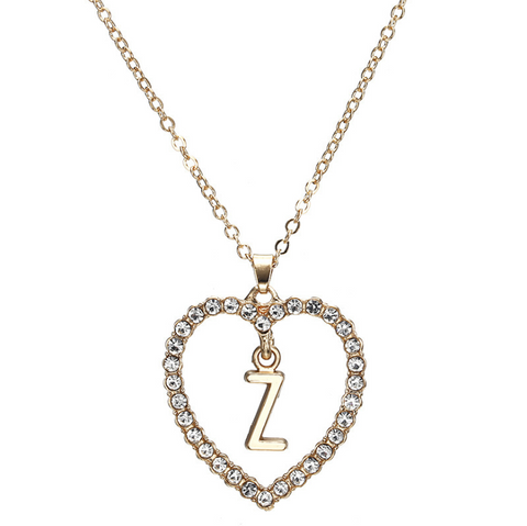 Gold Diamante Heart Shape Initial Pendant Necklace gallery 27