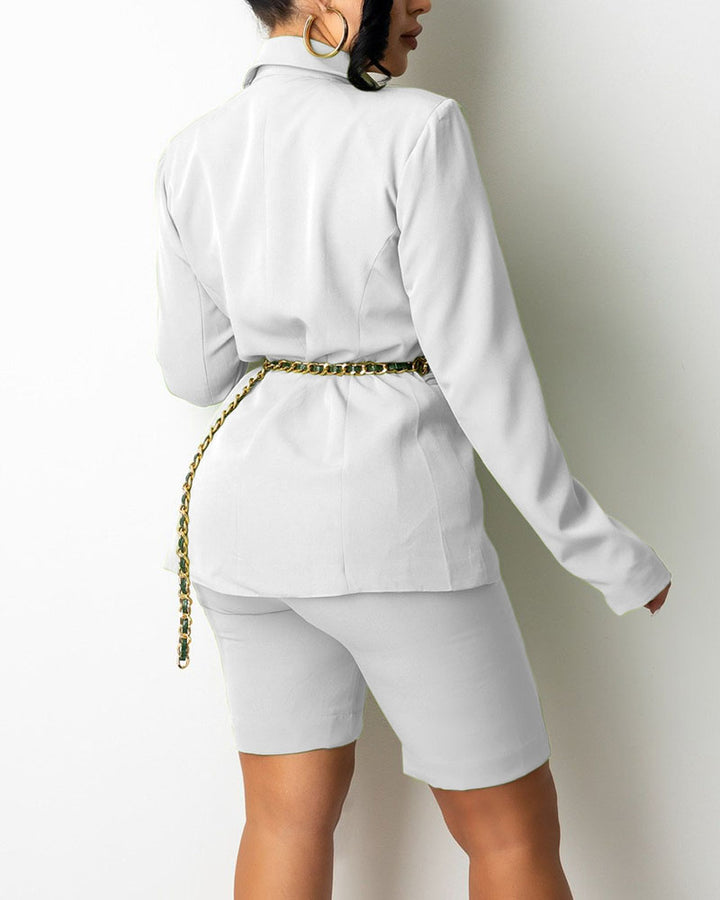 Solid Button Front Blazer & Shorts Set Without Belt gallery 6