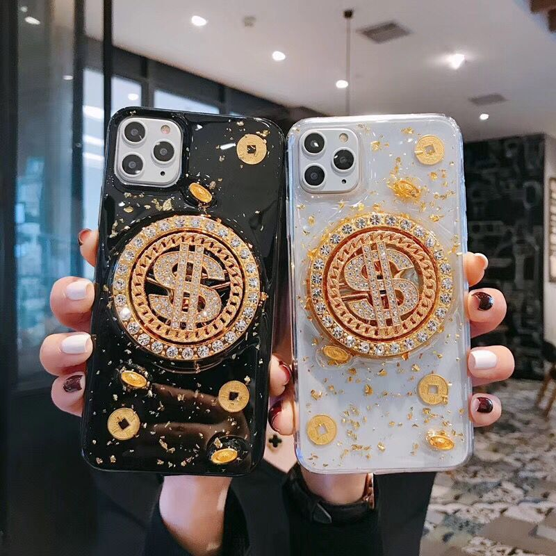 Glittering Dollar & Copper Coins Decorated iPhone Case