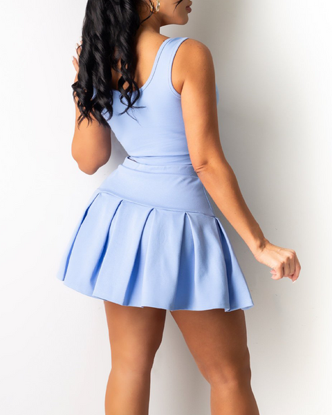 Solid V Wired Top & Pleated Skirt Set gallery 3