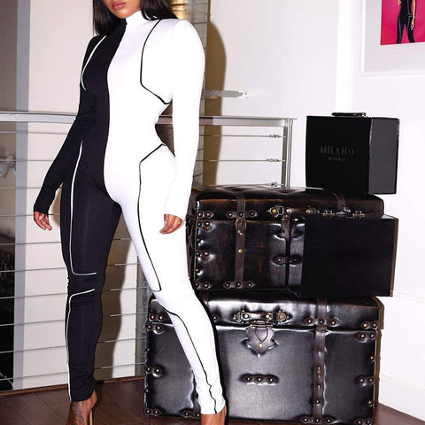 Two Tone Color Block Long Sleeve Fitness Jumpsuit