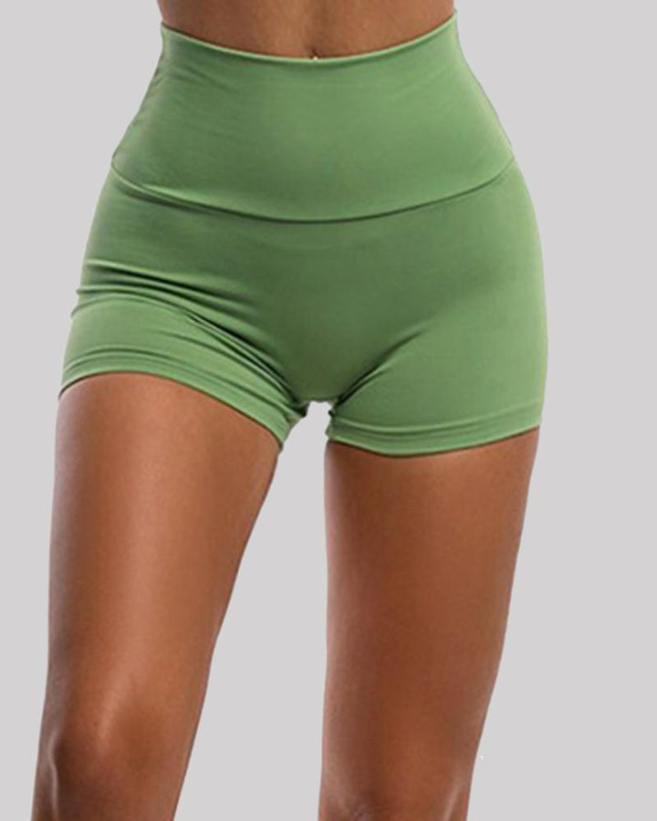 Solid Ruched Butt Lifting High Waist Sports Short gallery 3