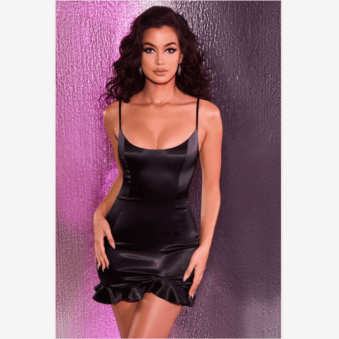 Black Plunge Spaghetti Strap Frill Hem Bodycon Dress