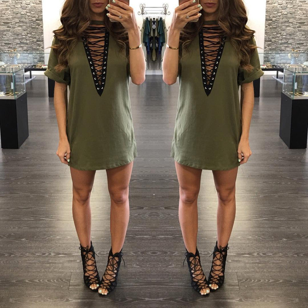 Lace-Up Front Turn Up Sleeve Mini Dress