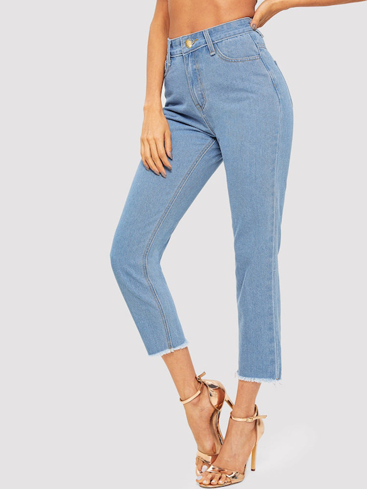 High Rise Raw Hem Cropped Straight-Leg Jeans