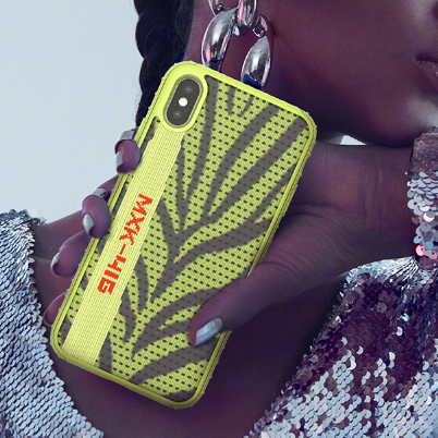 Leaves Pattern With Neon Stripe Decoration iPhone Phone Cases