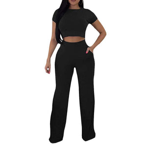 Round Neck Short Sleeve Wide Leg Cropped Top & Pant Set
