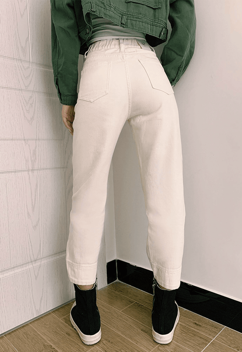 3 Colors High Rise Button Detail Mom Jeans gallery 7