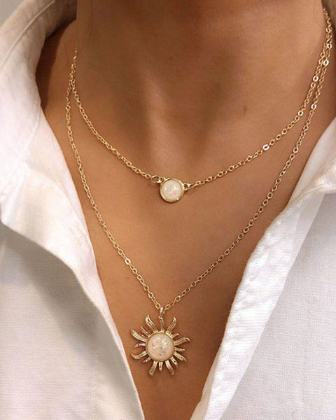 Sun Charm Layered Necklace