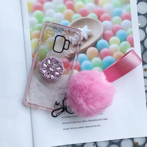 Diamond-shaped Phone Case for Samsung with Phone Holder and Pom-pom gallery 5