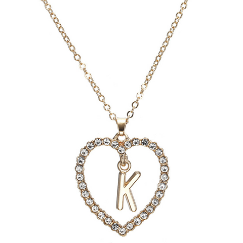 Gold Diamante Heart Shape Initial Pendant Necklace gallery 12