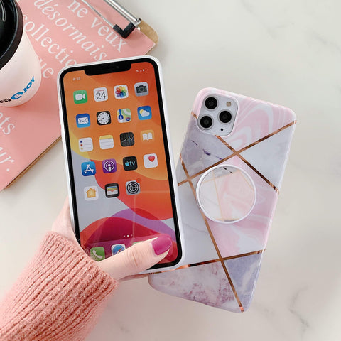 Stitching Plaid Marble Phone Case for Samsung with Phone Holder gallery 4