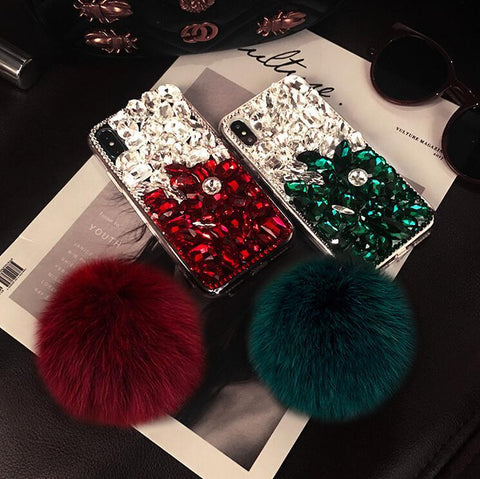 Stitching Rhinestone Deco Phone Case for Samsung with Pom-pom gallery 4