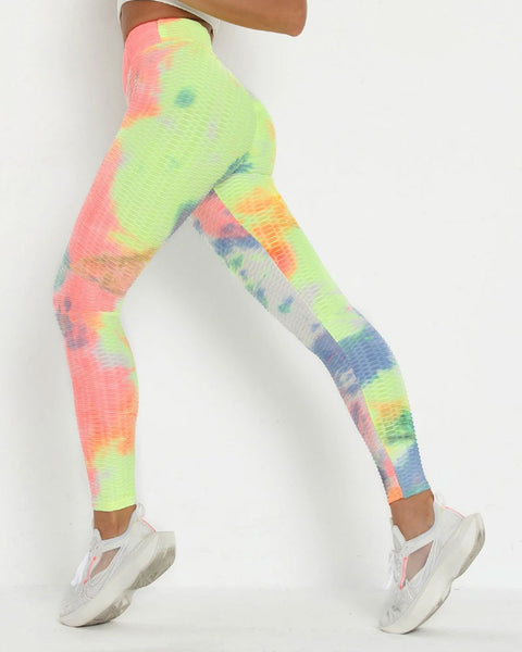Watercolor Tie Dye Textured Butt Lifting Ruched Leggings