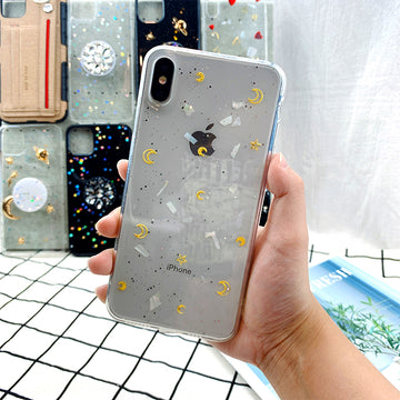 Transparent Silicone Soft Apple Cartoon Stars Print Phone Case For iPhone