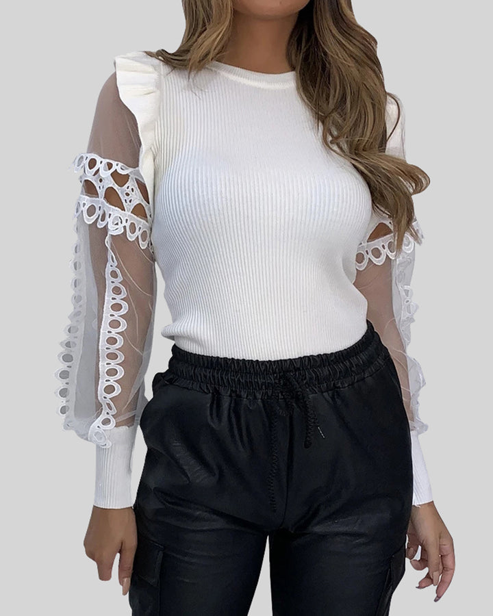 Sheer Sleeve Ribbed Knit Ruffle Trim Sweater gallery 1