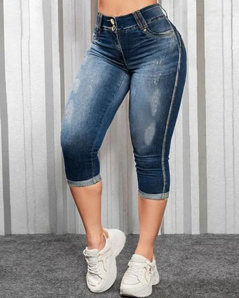 Ripped Roll Up Hem Capris Jeans gallery 1