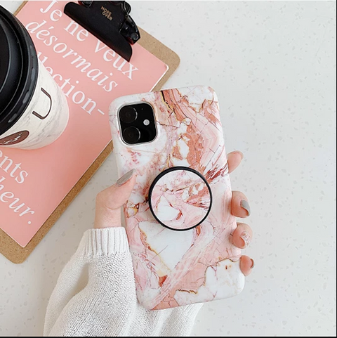 Pink Marble Print Phone Case for Samsung with Phone Holder gallery 8