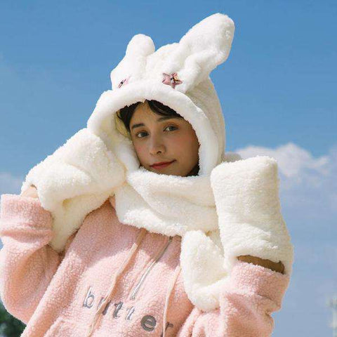 Women's Winter Rabbit Ear Fluffy Hat, Scarf, and Gloves Come in Three Pieces gallery 1