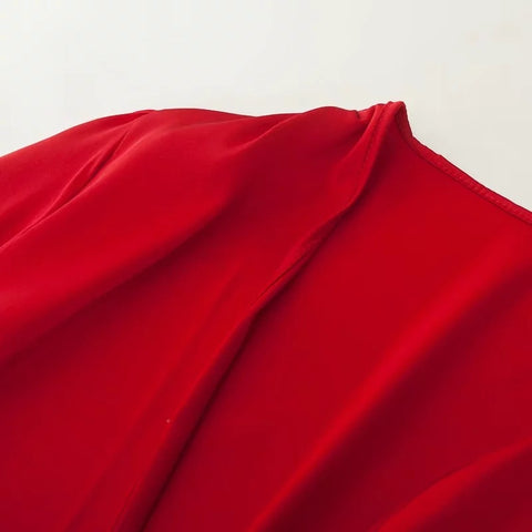 Satin Tie Front Long Sleeves Loose Cape Shirt gallery 8
