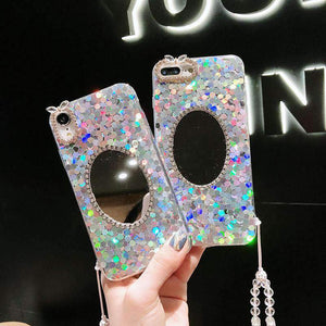 Blinking Mirror Phone Case for Apple iPhone with Strap