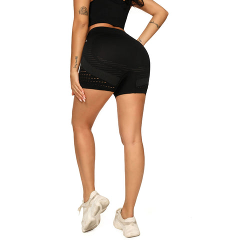 Contrast Hollow Out Seamless Sports Shorts gallery 13