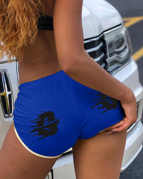 Graphic Print Contrast Binding Sports Shorts gallery 7