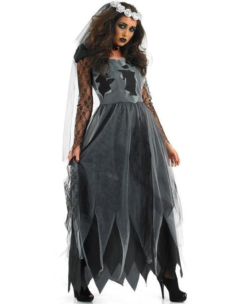 Sheer Mesh Insert Vampire Costume Dress