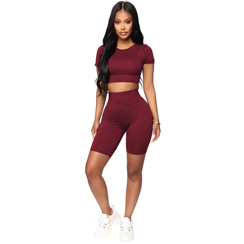 Round Neck Lace-Up Back High Waist Cropped Top & Short Set gallery 10