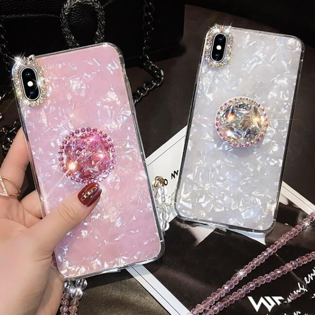 Elegant Shell Pattern iPhone Case with Artificial Rhinestone Diamond Phone Stand