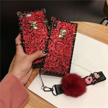 Glittering Retro Rose Pattern iPhone Case With Fur Ball And String