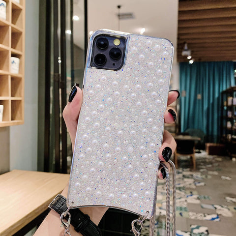 Sparkle Crystal Pearl Stud Phone Case for Samsung with Hand Strap gallery 2